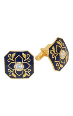 Black & gold plated brass handcrafted floral cufflinks