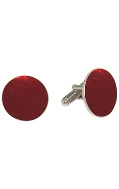 Red circular handcrafted cufflinks