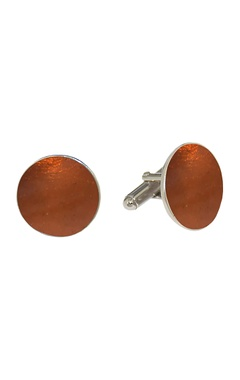 Orange circular handcrafted cufflinks