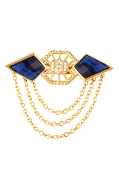 Gold plated spiky collar pin with chains