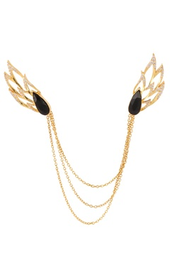 Gold plated collar pin with multiple chains
