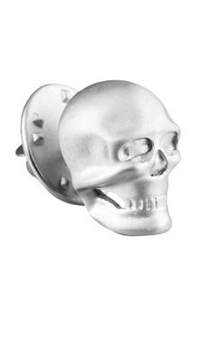 White brass statement skull tie pin