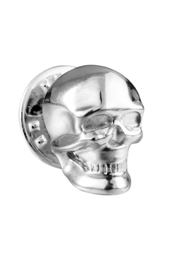 Silver brass statement skull tie pin