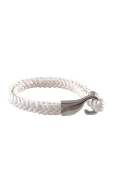 White brass braided leatherette wristband