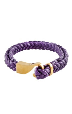 Purple brass braided leatherette wristband