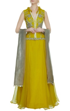 Bhumika Sharma Ochre yellow organza lehenga with v-neck embroidered blouse & dupatta