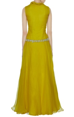 Ochre yellow organza lehenga with v-neck embroidered blouse & dupatta