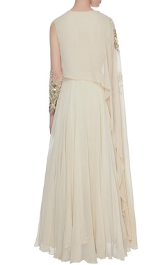 Ivory georgette silk cape style anarkali
