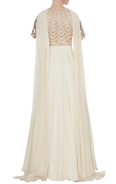 Ivory box pleated crepe silk lehenga set