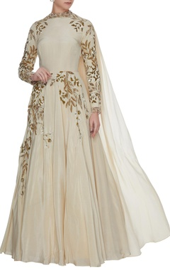 Bhumika Sharma Ivory crepe silk anarkali gown with cutwork detailing