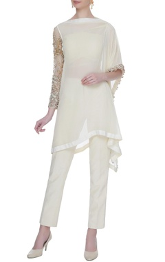 Bhumika Sharma Ivory georgette silk kurta with pants