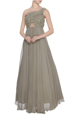 Bhumika Sharma Grey one-shoulder georgette silk anarkali gown