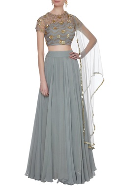 Bhumika Sharma Grey net & crepe silk box pleated lehenga set