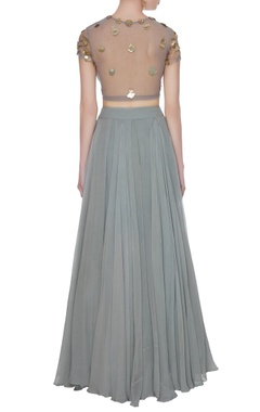Grey net & crepe silk box pleated lehenga set