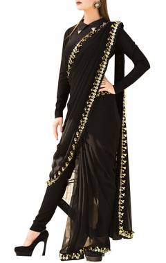 Nitya Bajaj Black pre-stitched saree with full sleeve lycra blouse