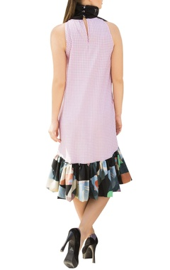 Pink gingham check asymmetric shift dress with attached bow-tie