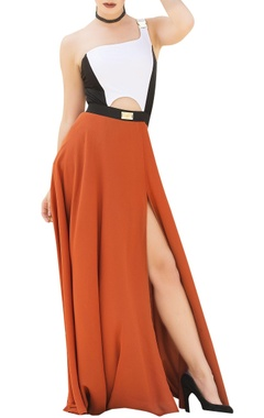 Nitya Bajaj White & orange color-block maxi dress with princess slit
