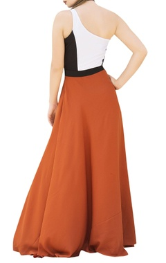 White & orange color-block maxi dress with princess slit