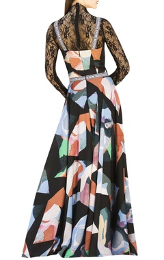 Multicolored maxi dress with woven tape straps