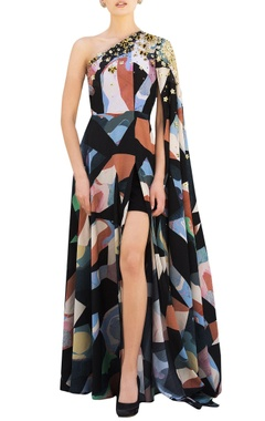 Nitya Bajaj Multicolored one-shoulder gown in multicolored abstract pattern