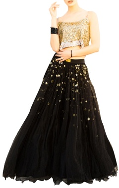 Nitya Bajaj Black net layered flared lehenga with gold sequin blouse