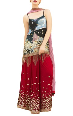 Nitya Bajaj Multicolored printed spaghetti strap kurta with red sharara pants & dupatta