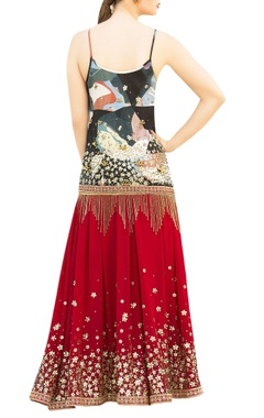 Multicolored printed spaghetti strap kurta with red sharara pants & dupatta