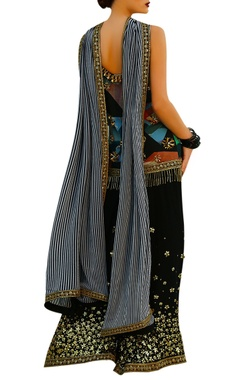 Multicolored printed spaghetti strap kurta with black sharara pants & dupatta