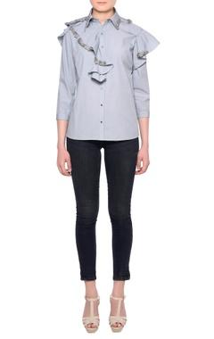 Platinoir Grey cotton 3D embroidered ruffle detail shirt