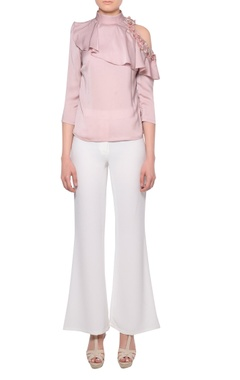 Platinoir Blush pink pearl embroidered satin ruffle cold shoulder blouse