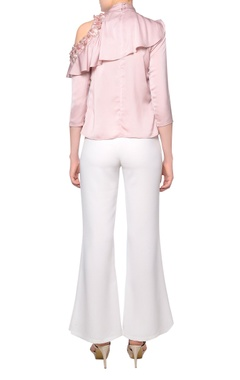 Blush pink pearl embroidered satin ruffle cold shoulder blouse