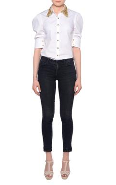 Platinoir White cotton dress shirt with gathered sleeves