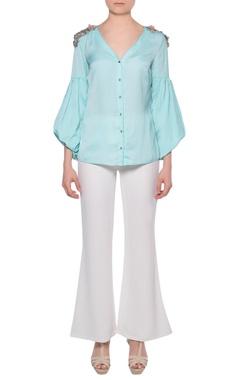 Platinoir Aqua blue satin shirt with bishop sleeves