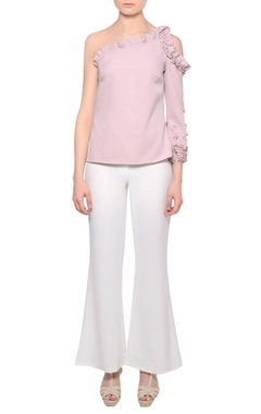 Platinoir Blush pink one-shoulder 3D bead embroidered blouse