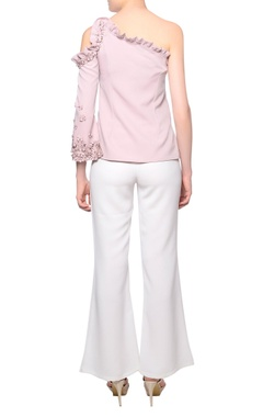 Blush pink one-shoulder 3D bead embroidered blouse