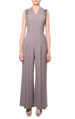 Platinoir Taupe heavy crepe silk pleated jumpsuit
