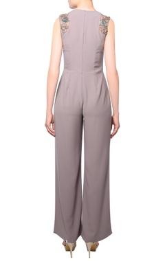 Taupe heavy crepe silk pleated jumpsuit