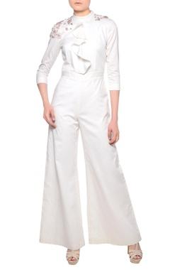 Platinoir Off-white ruffle detail jumpsuit