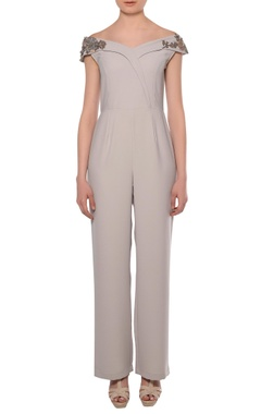 Platinoir Dusty grey heavy crepe off-shoulder bead embroidered jumpsuit
