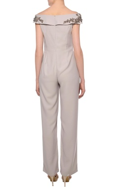 Dusty grey heavy crepe off-shoulder bead embroidered jumpsuit