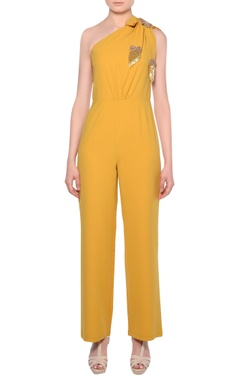 Platinoir Mustard yellow heavy crepe fringe bow detail jumpsuit
