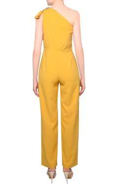 Mustard yellow heavy crepe fringe bow detail jumpsuit