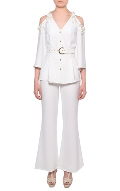 Platinoir White cold-shoulder shirt with flared pants