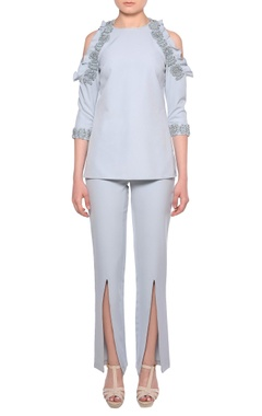 Platinoir Pale blue heavy crepe cold-shoulder blouse & slit pants co-ordinate set