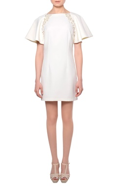 Platinoir White flared sleeve 3D sequin & bead embroidered mini dress