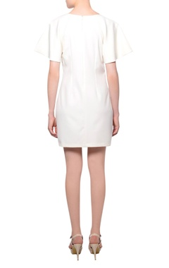 White flared sleeve 3D sequin & bead embroidered mini dress