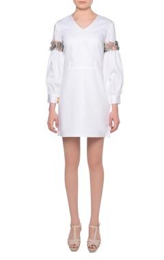 Platinoir White glazed cotton short dress with bishop sleeves