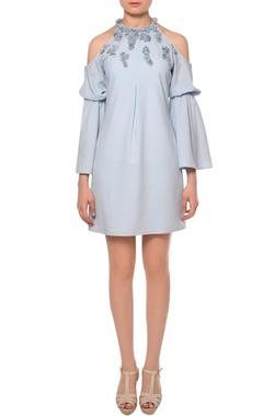 Platinoir Pale blue cold shoulder 3D bead floral embroidered flouncy dress