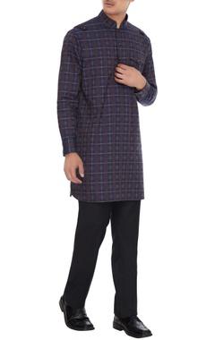 Vikram Bajaj Navy blue cotton classic kurta