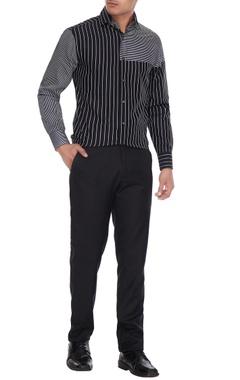 Vikram Bajaj Black & white cotton striped shirt